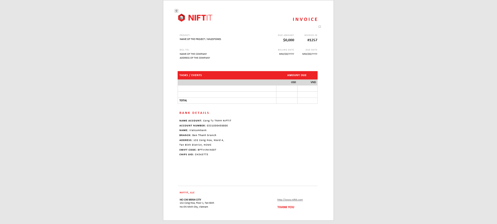 invoice template created with microsoft word