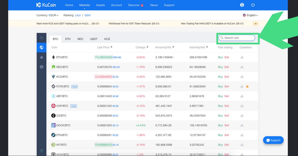 How to buy CHP on kucoin step 2