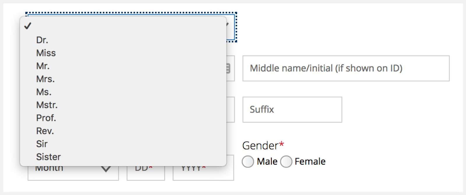 Gender non binary form options
