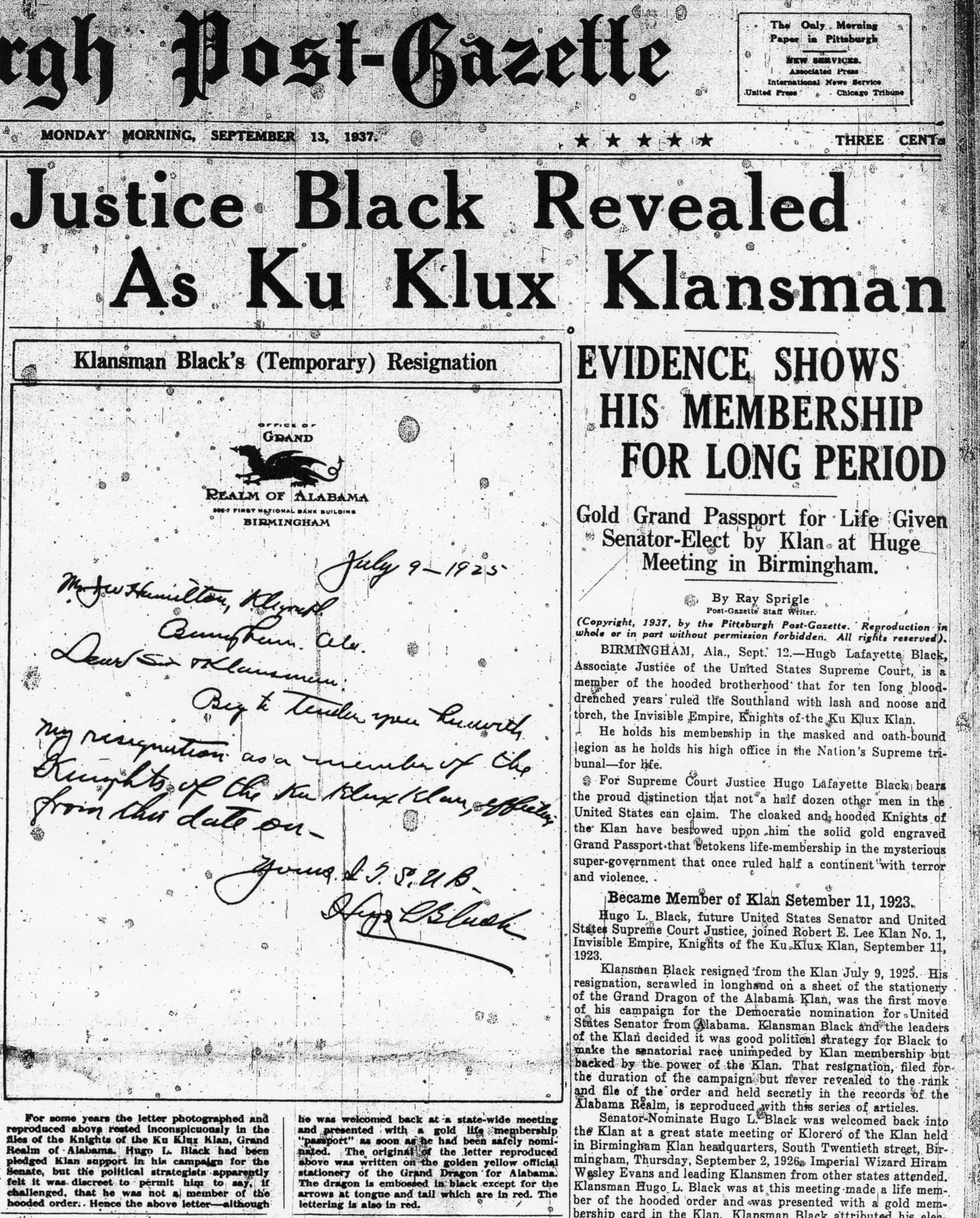 a u s supreme court justice was in the ku klux klan and he  the 13 1937 front page of the pittsburgh post gazette printed an image of black s kkk resignation letter