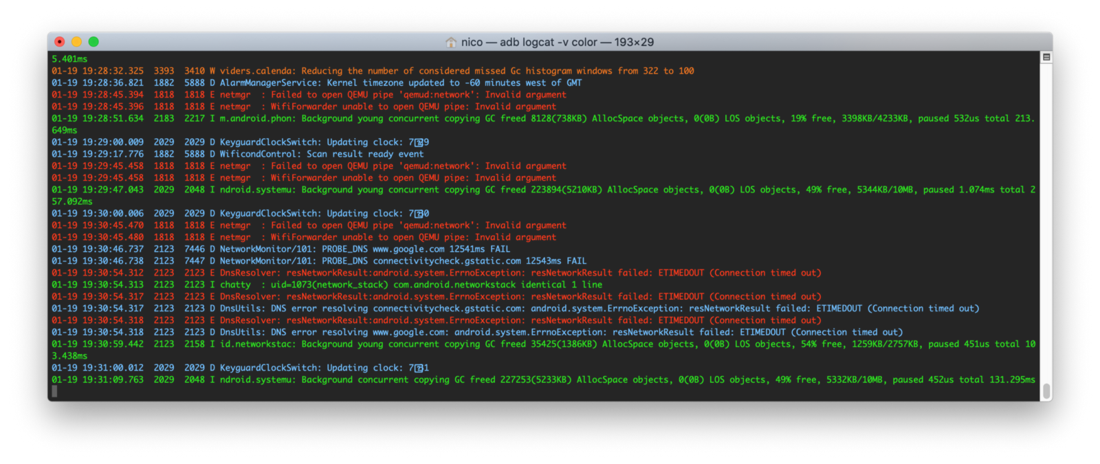 Screen capture of a colored logcat terminal