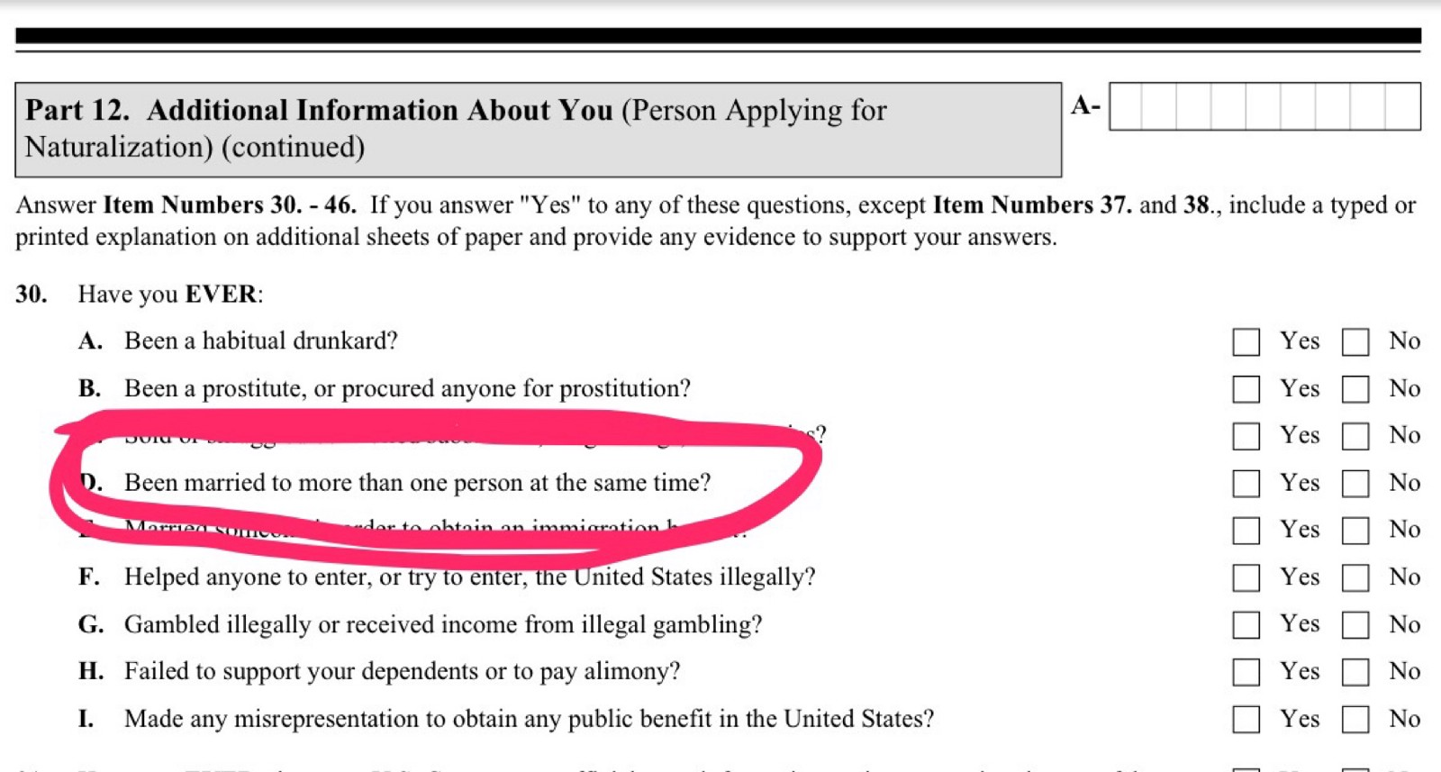 Did malik obama lie about polygamous marriages to get us the 30th question in part 12 of form n 400 requires applicants for us citizenship to declare whether they are or have ever been in polygamous marriages falaconquin