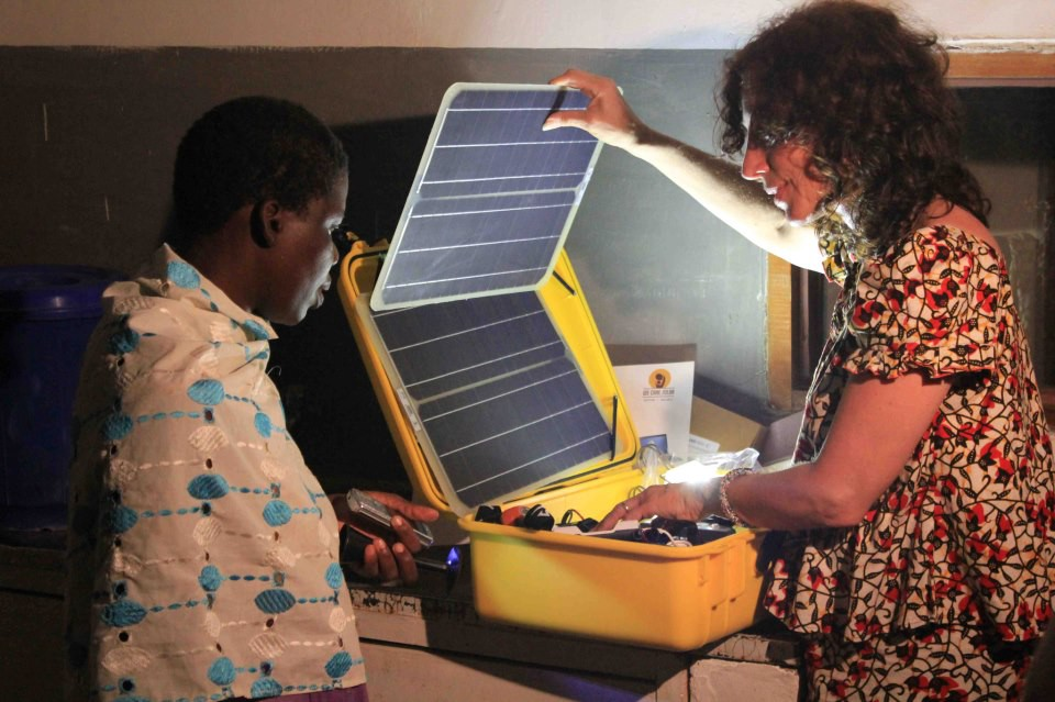 Laura Stachel in Malawi with the solar suitcase. / Courtesy of Laura Stachel