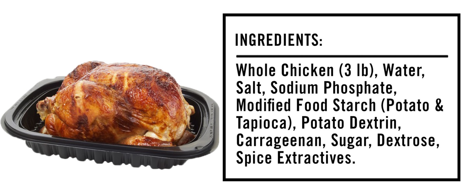 The ingredients listed on the label of a Costco rotisserie chicken are: whole chicken, water and seasonings (salt, sodium phosphate, modified food starch, potato dextrin, carrageenan, sugar, dextrose, spice extractives). Compared to the odd ingredients found in many processed foods, that's not so bad.