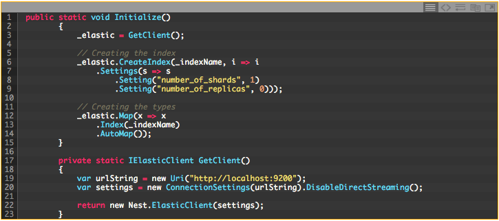 Our type fields will be automapped. The next section of code is part of the  custom ElasticClient.