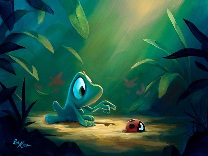 Beau the frog and Red the ladybug in Low Speed Chase by artist Rob Kaz