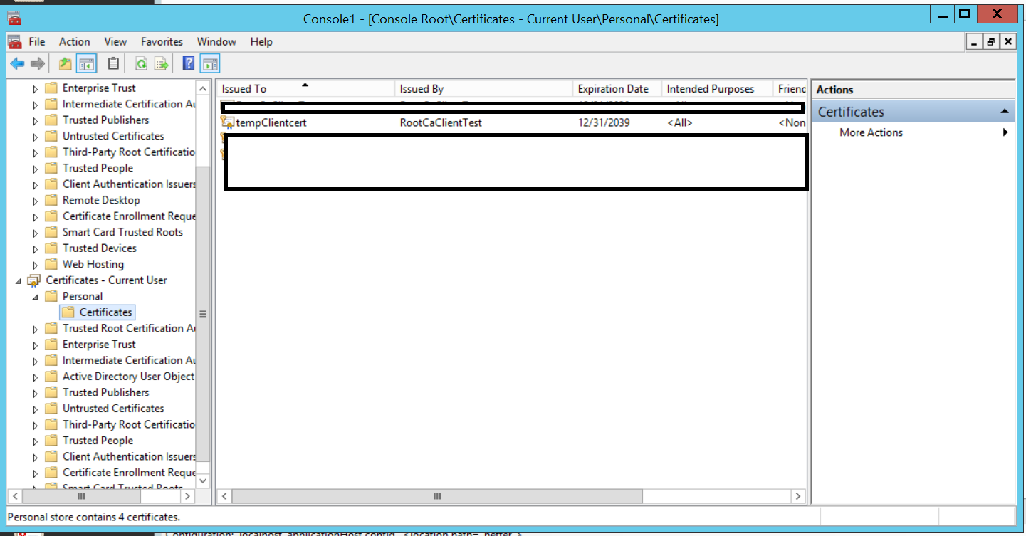Configuring client certificates for mutual authentication on iis 8 right click on the certificate all tasks export will open a dialog to export the certificate ick next on the dialog 1betcityfo Image collections