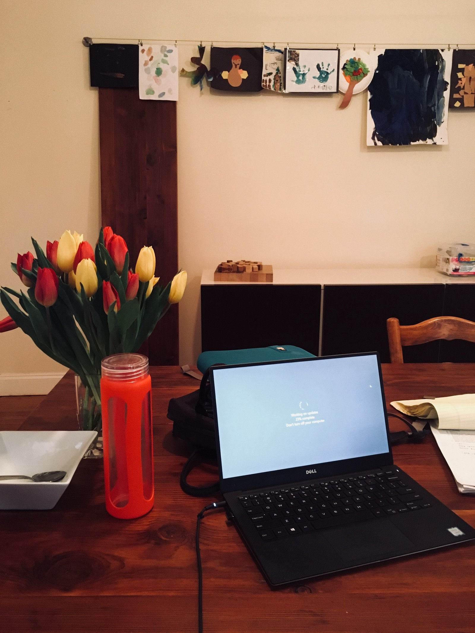 home office it. With A Big Meeting Tomorrow, I Had To Set Up My Work From Home Office. It Was Beautiful Morning Surrounded By Kids\u0027 Art Projects, Birthday Flowers, Office E