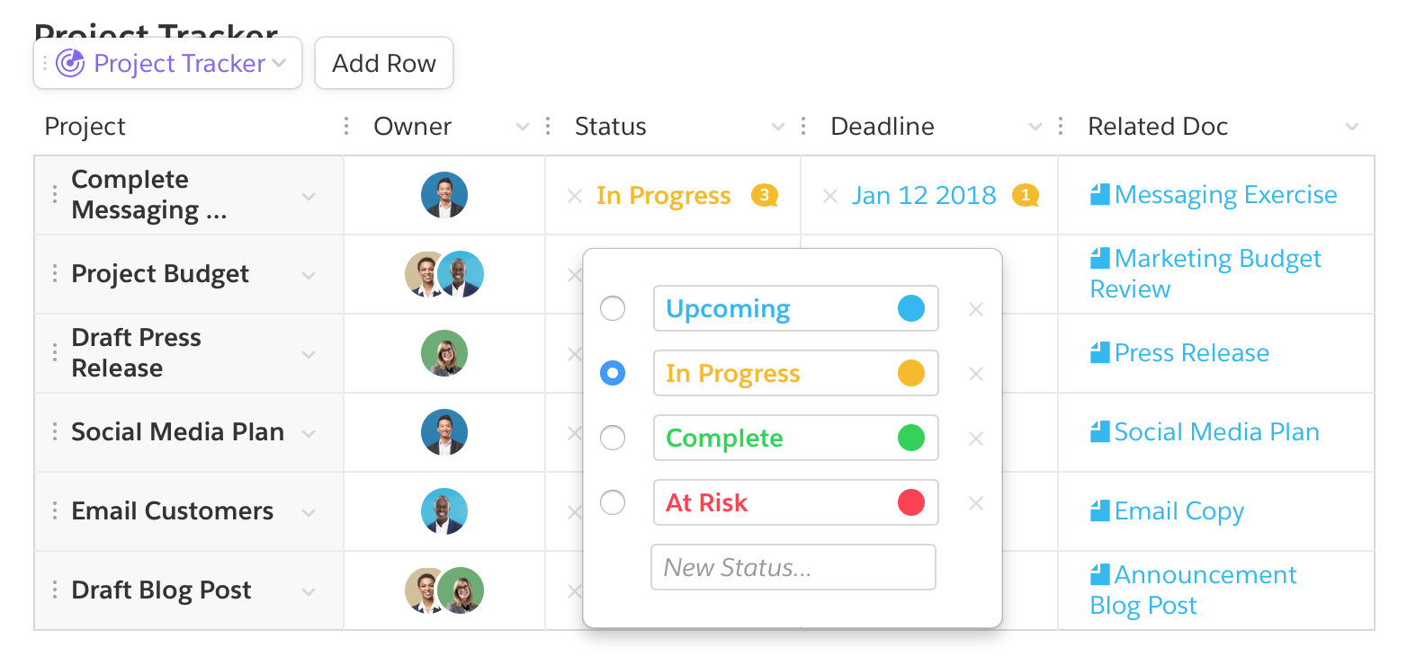 how to create a project tracker