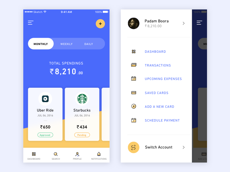 spending app another exploration by padam boora - Ui Design Ideas