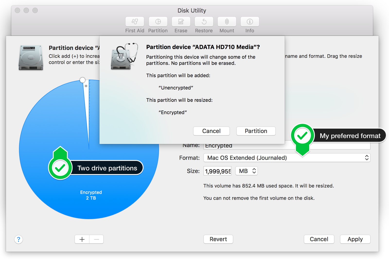 Adding A Second Partition Avoids Accidental Dataloss (macos Disk Utility)