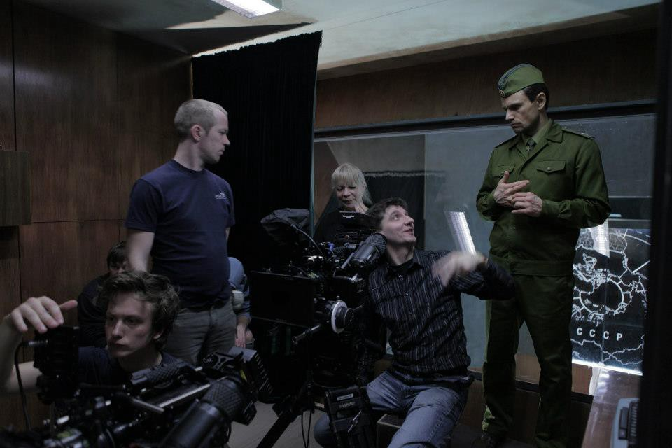 "Part of the team on the Latvian set of ""The Man Who Saved the World"""
