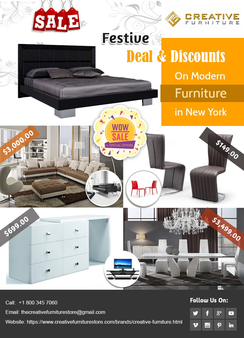 Festive deal and discounts on modern furniture in new york
