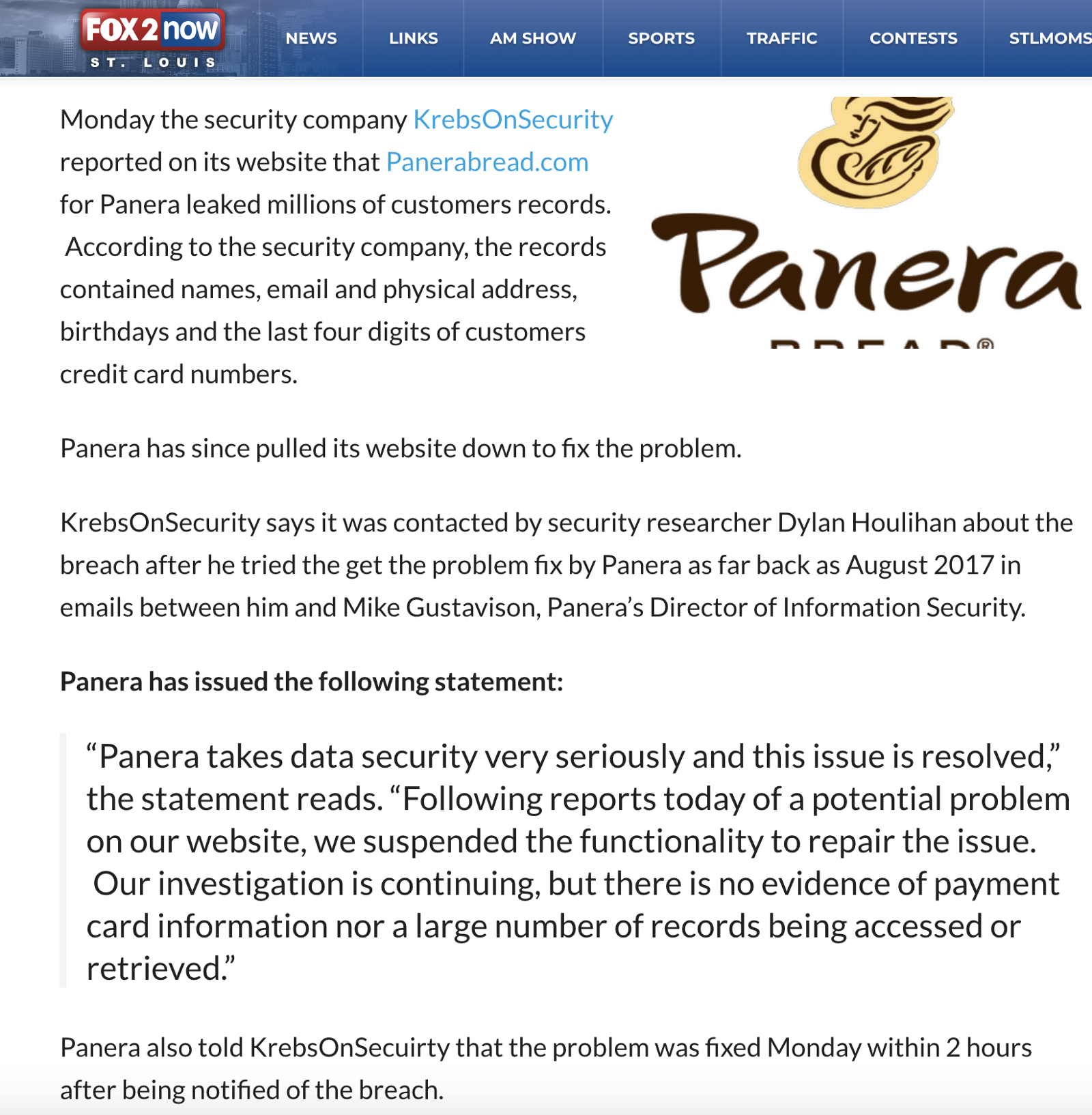 """And there it is, in bold letters and emphasized in quotation — """"Panera take data security very seriously and this issue is resolved."""