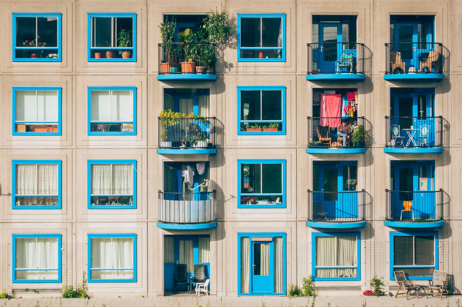 Photo of 32 blue windows on a building