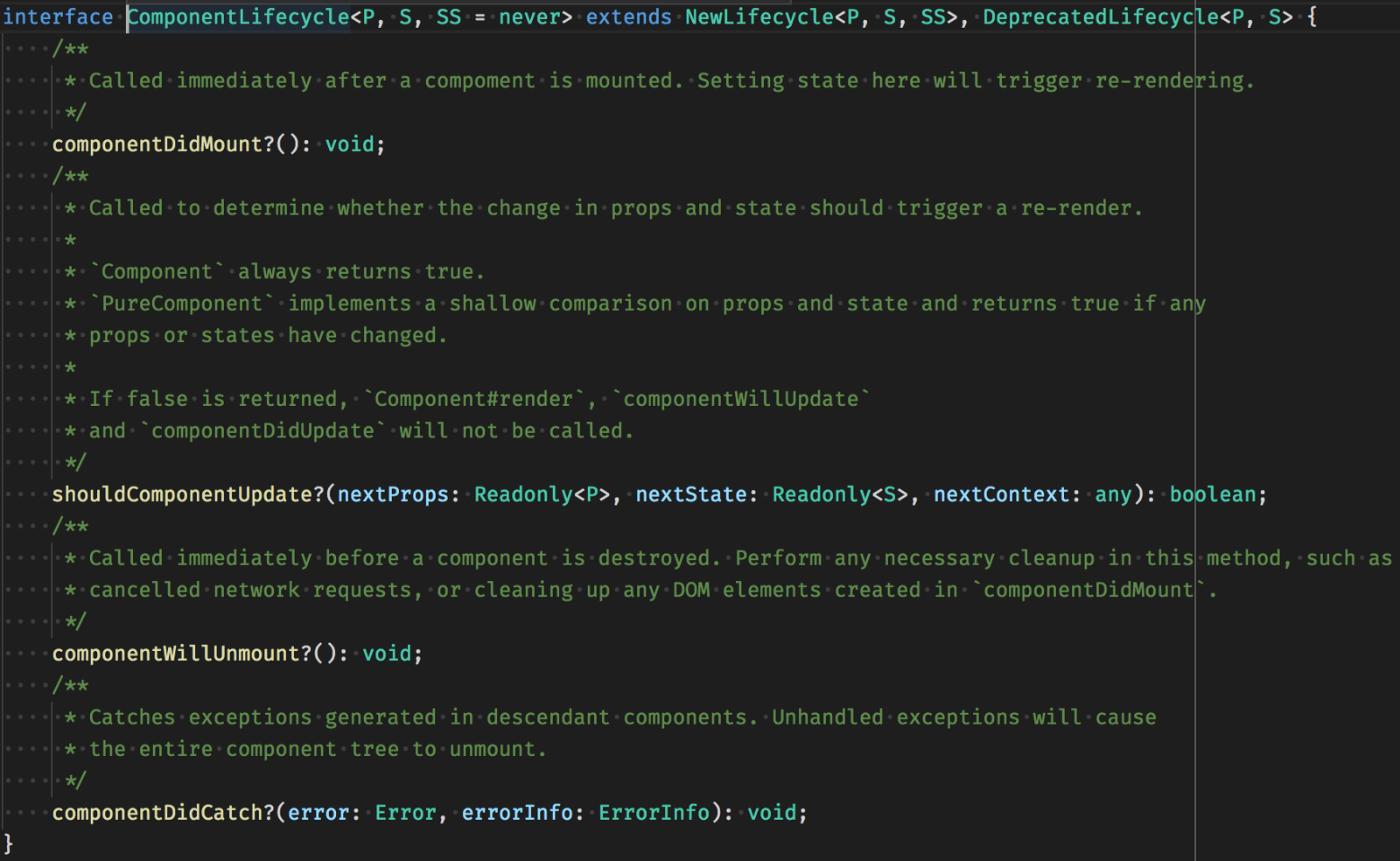 You Can See Here How React Use Generics To Propagate Props And State Types Class Methods