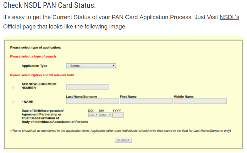 Guidelines for filling pan new application online sofia wilson code that was given to you after completing your online application procedure following is the details you require to check your pan card reheart Choice Image