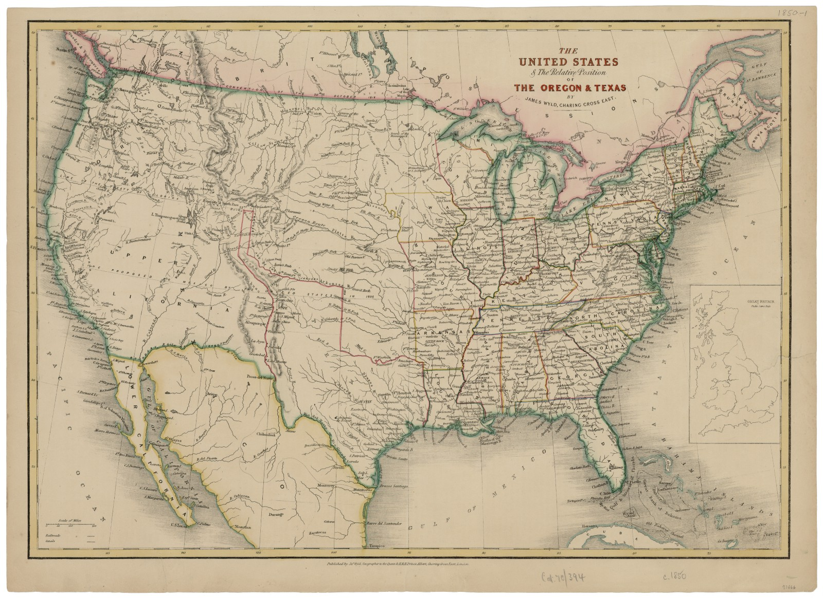 Map Of The United States 1850.The United States The Relative Position Of The Oregon Texas Ca