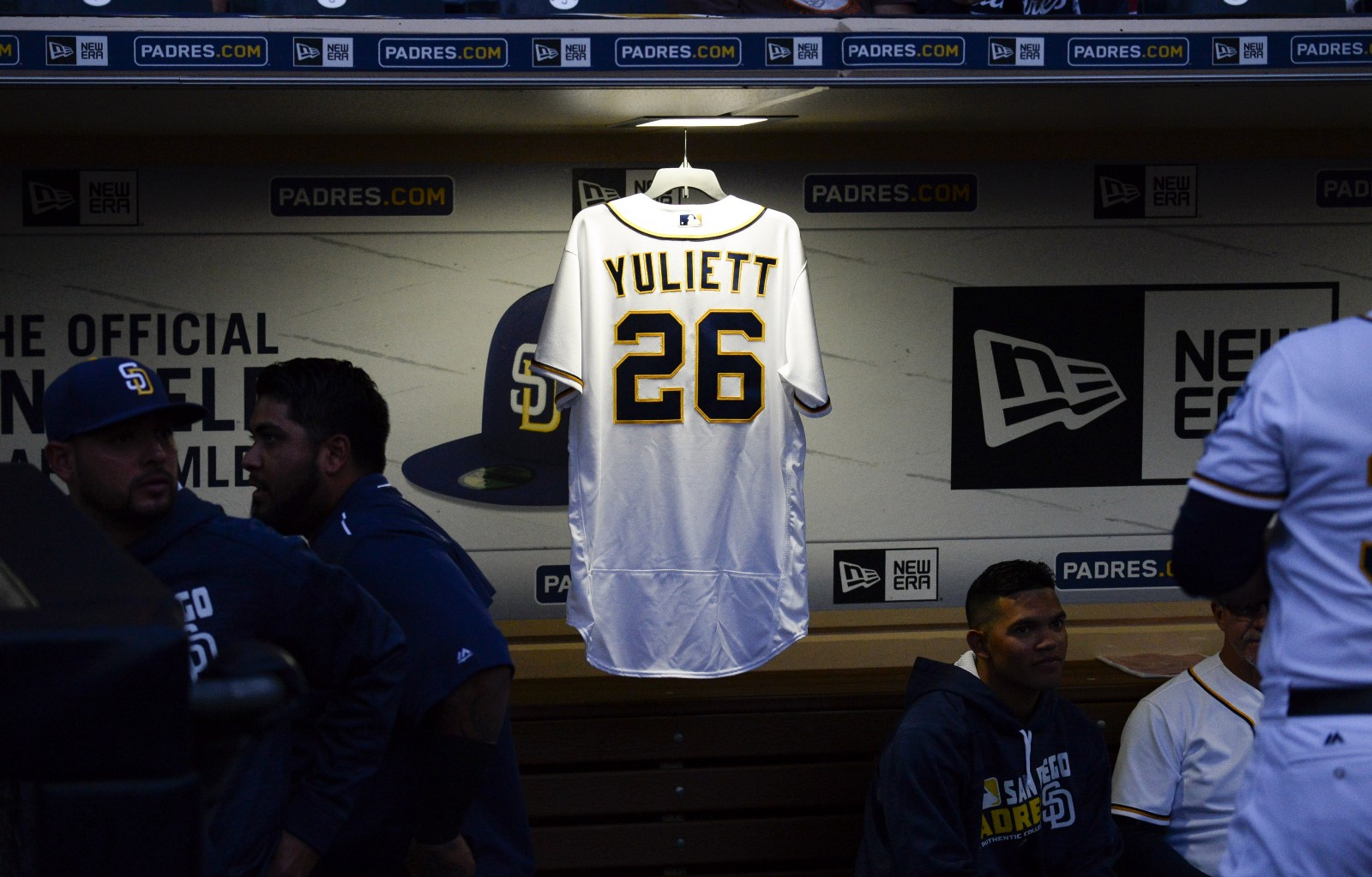 2304ff1e1 ... a jersey hangs in the padres dugout in honor of yuliett solarte before  . ...