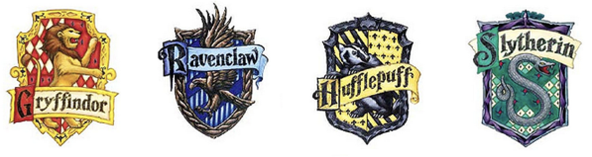 Image Of Hogwarts House Crests For Gryffindor, Ravenclaw , Hufflepuff, And  Slytherin