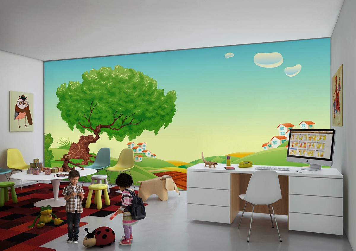 how to decorate a cozy space for children in public places optically magnifying wall mural by pixers