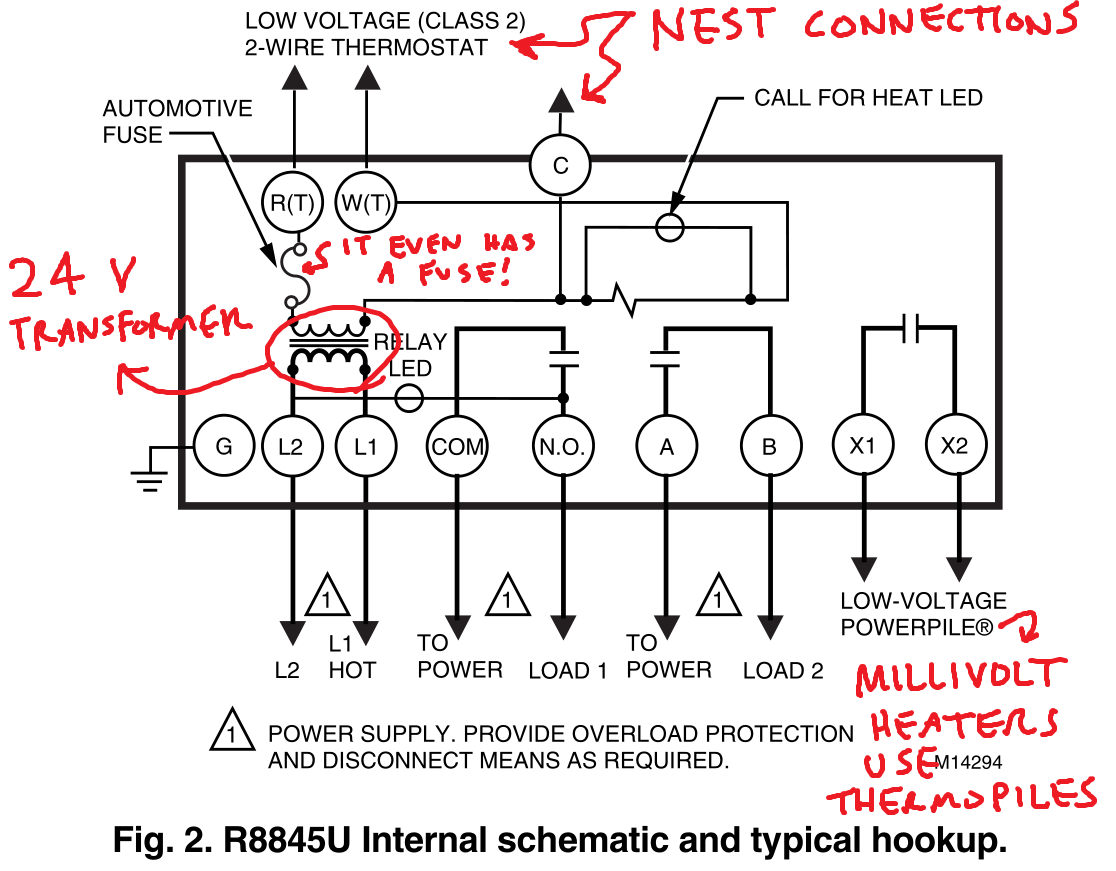 Controlling An Ancient Millivolt Heater With A Nest Line Isolation Monitor Wiring Diagram Ill Use Bold To Reference This Below