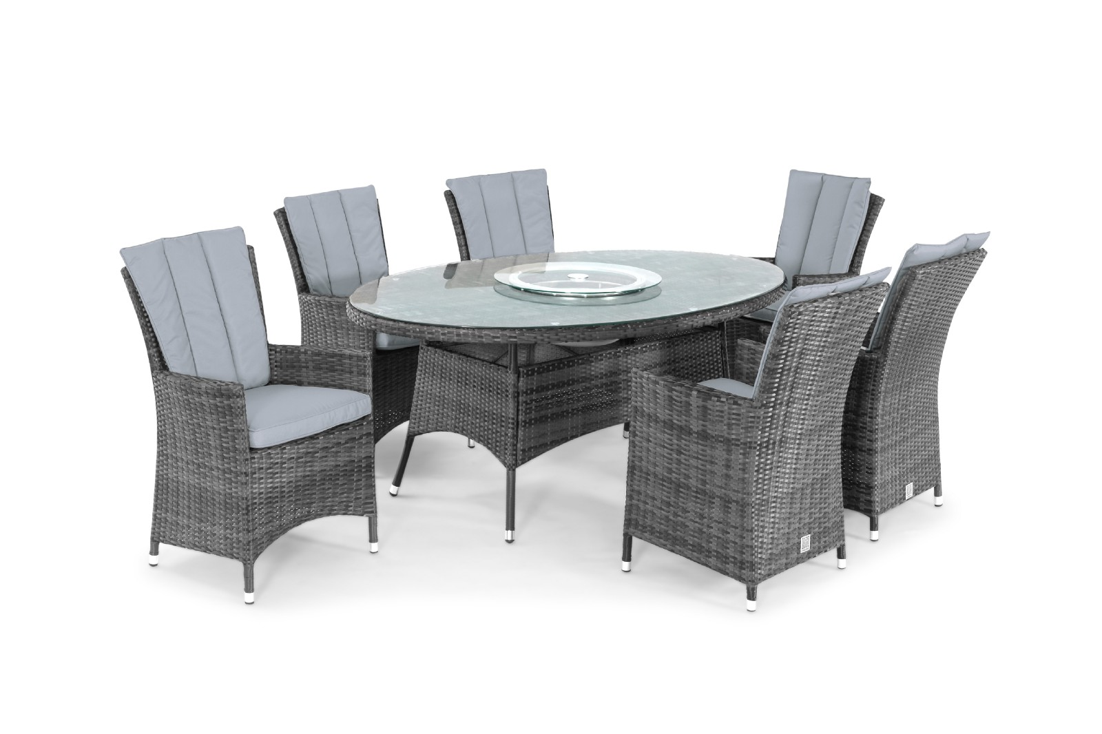 Maze Rattan 6 Seat Round Dining Set With Ice Bucket Offer By  Rattanfurniturefairy.co.uk