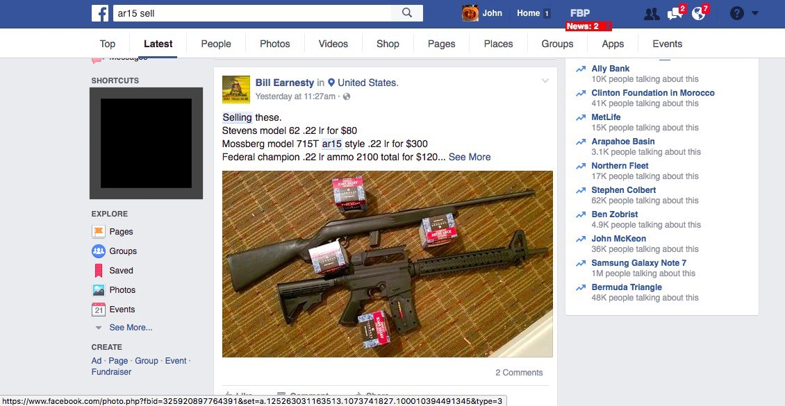 chasing guns from facebook part ii reporting individual posts