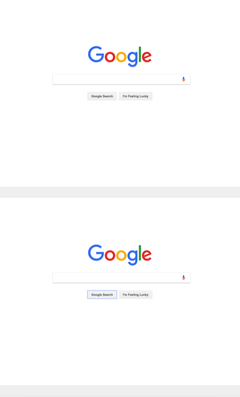 The 'google search' button being keyboard focused