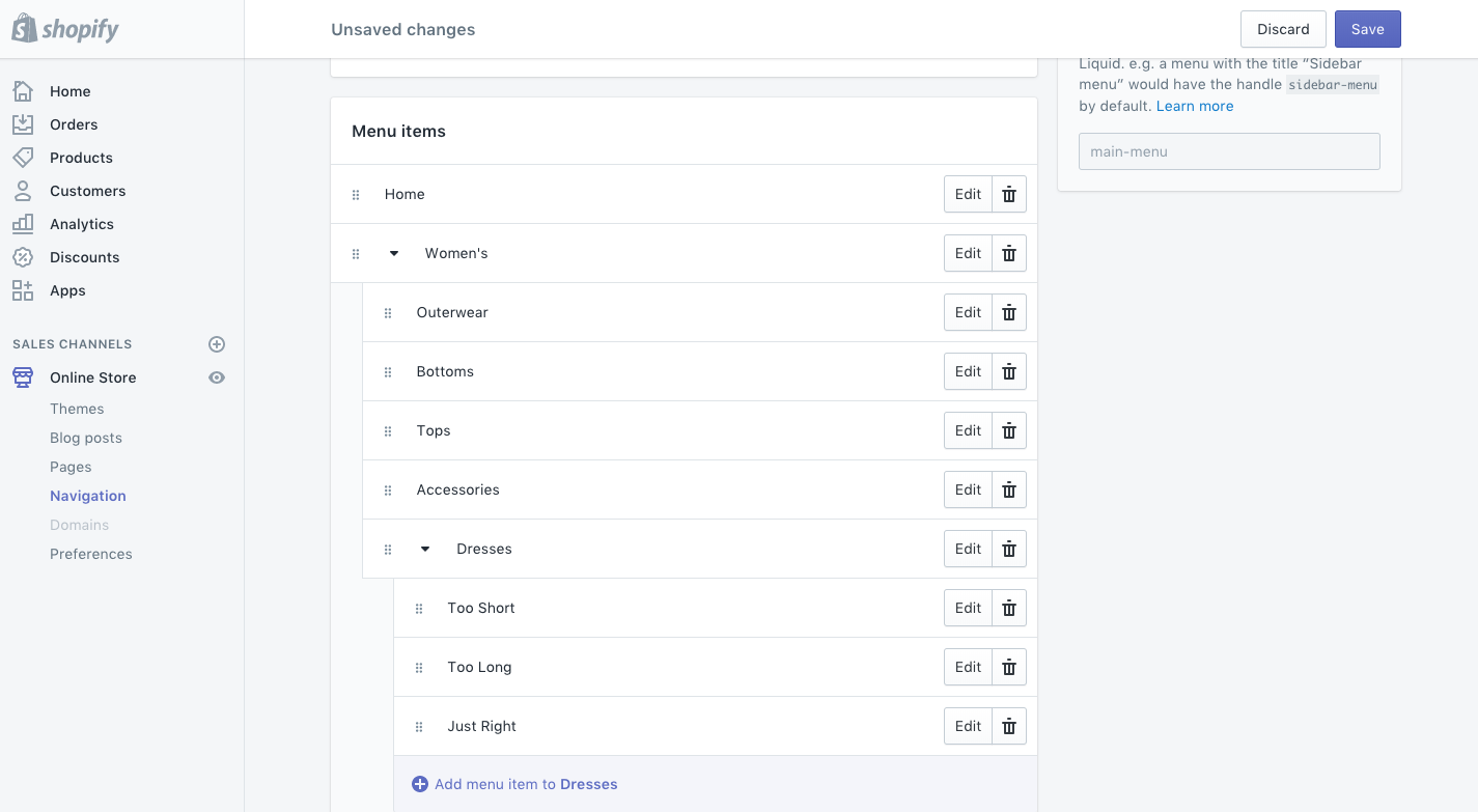 Creating a drop-down menu with Shopify's nested navigation