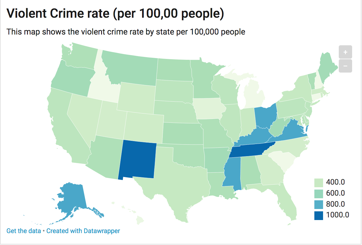 For My Graphics I Decided That I Wanted To Create A Representation - Map-of-violent-crime-in-us