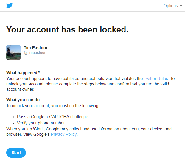 new twitter account locked