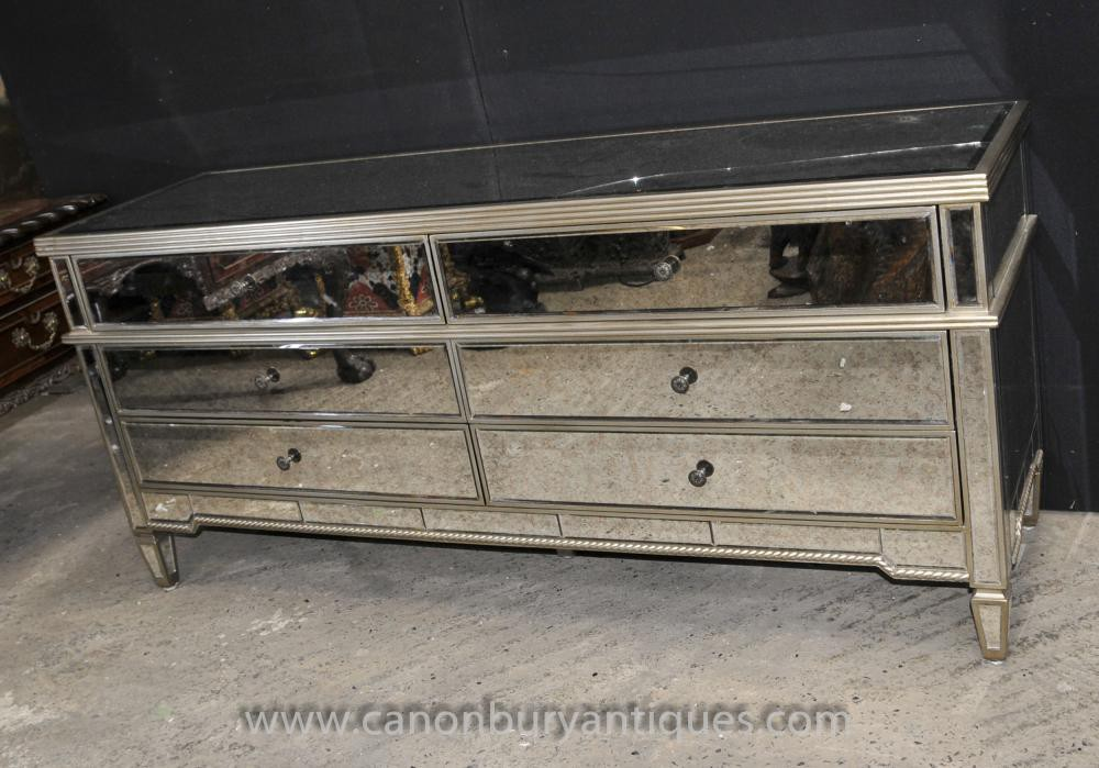 XL Art Deco Mirrored Chest Drawers Sideboard Mirror Furniture