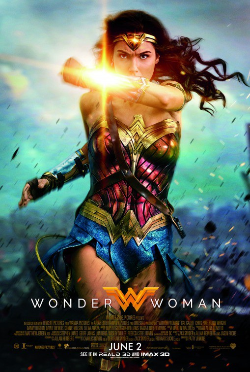 Image source: IMP Awards — Image description: the movie poster shows Wonder  Woman with light emanating from a shielded forearm that is in front of her  face, ...