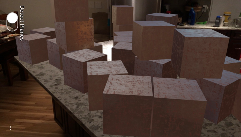 Virtual cubes on a counter top