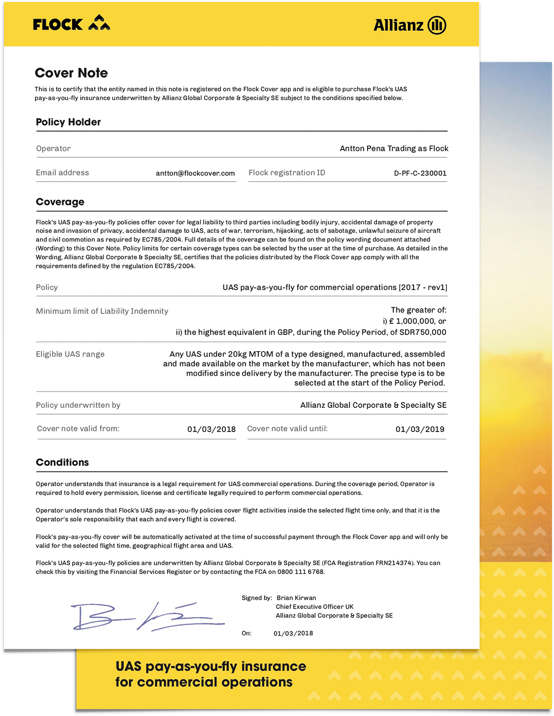 How To Apply For Your Pfco Using Flock S Pay As You Fly Drone Insurance