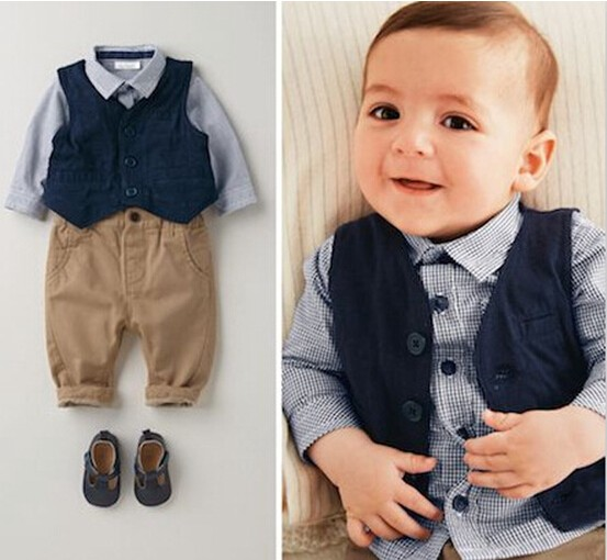 This Handsome Designer 3 Piece Baby Boy Birthday Dress With A Grey Shirt And Brown Pants Blue Waistcoat Your Little Trendy For