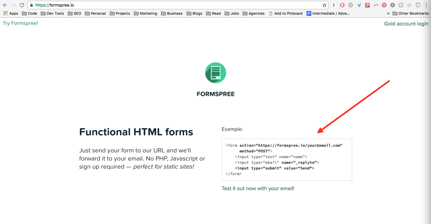 Using Formspree to integrate contact forms into your static site ...