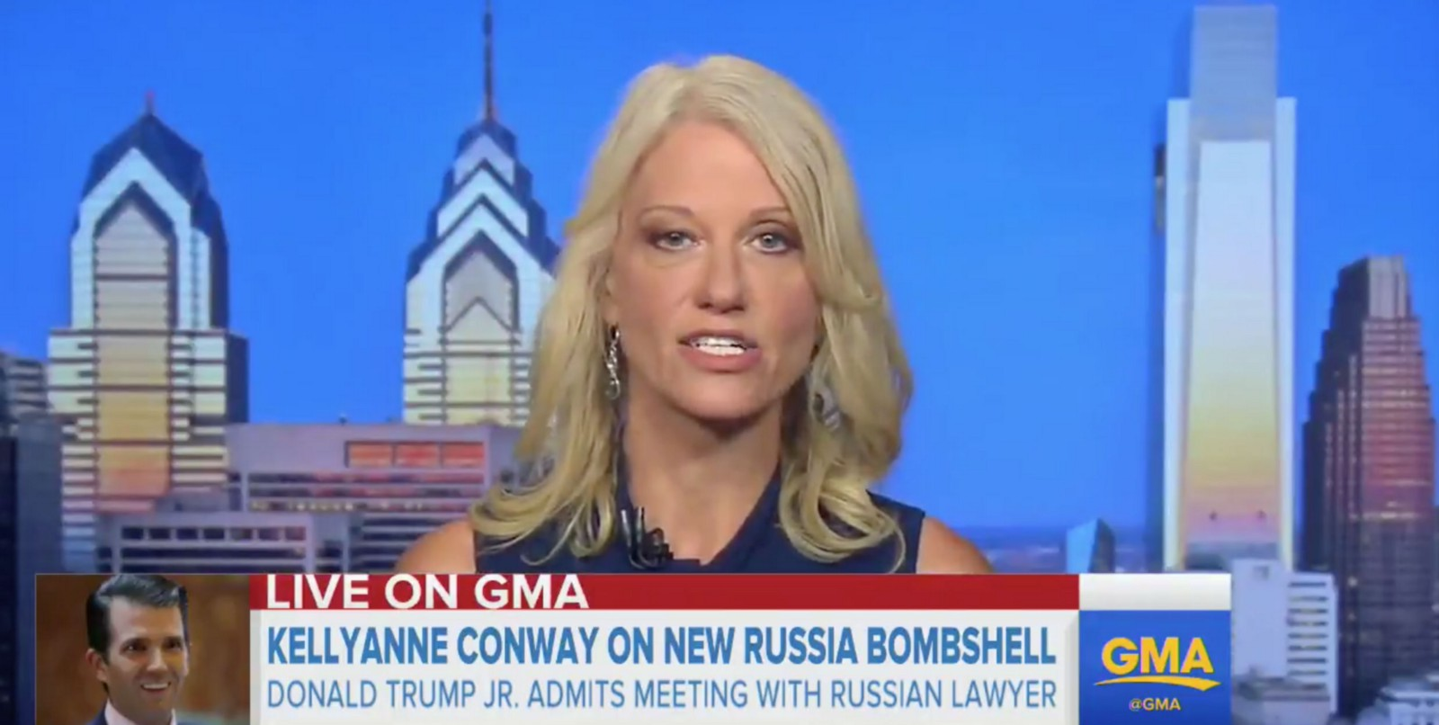 Kellyanne Conway Exposes Trump's Belly While Defending Don Jr.'s Collusion Attempt