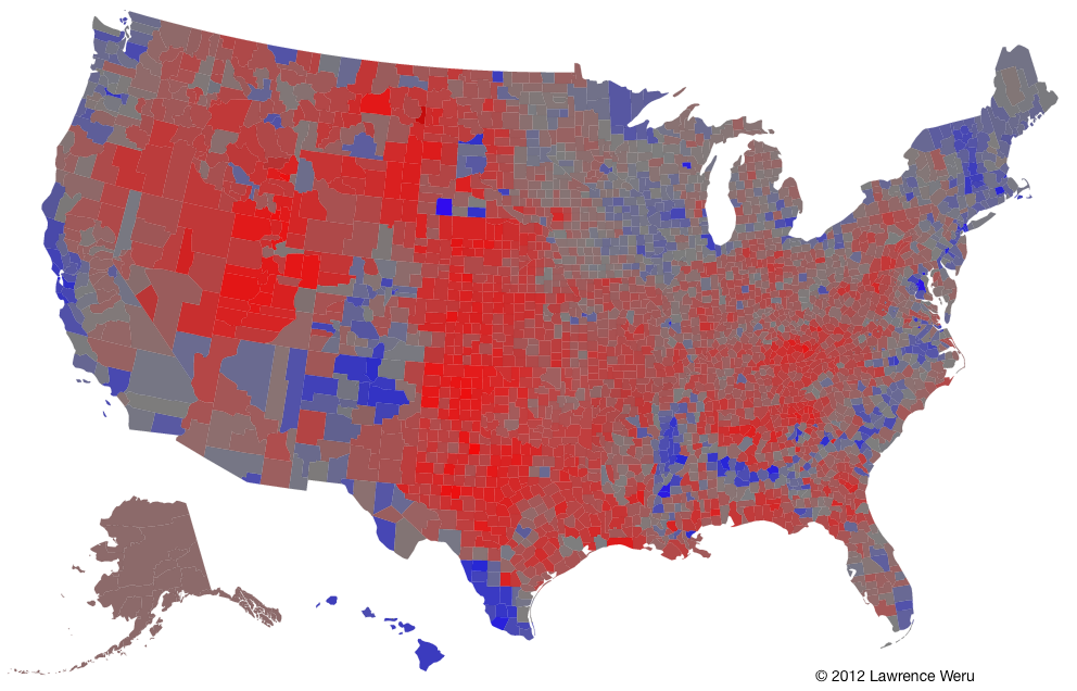 The Trouble With The Purple Election Map Matter Medium - Blended map of the us election