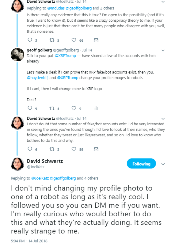 1bf53231c14207 David was kind enough to agree to a silly little bet I proposed  if I can  prove that XRP Ripple fake bot accounts exist
