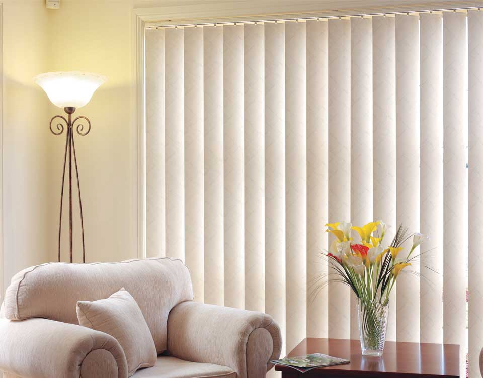 White Vertical Blinds In Large Windows