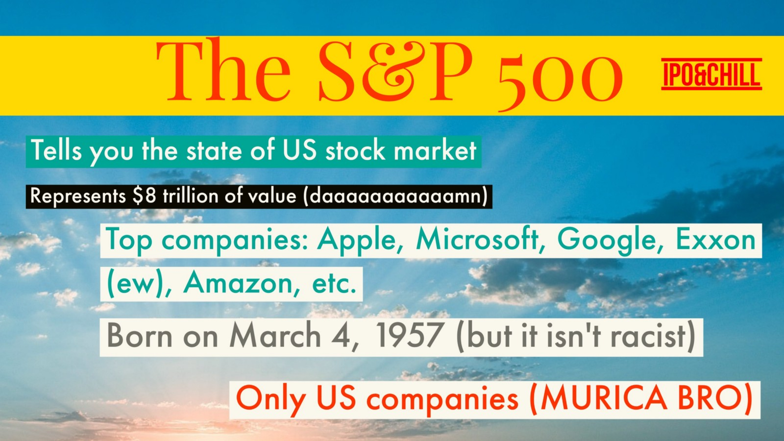 Wtf is the sp 500 ipo chill medium the top 10 companies in the sp 500 represent 20 of its total value of 8 trilly you can probably name the companies that are included apple microsoft biocorpaavc Gallery