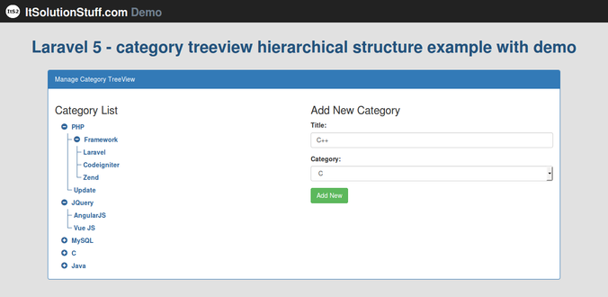 Laravel 5 Category Treeview Hierarchical Structure