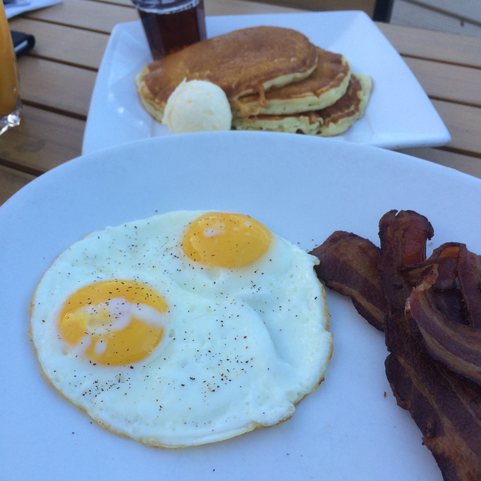 The classic eggs and bacon were great, but the pancakes were some of the best I've ever had.