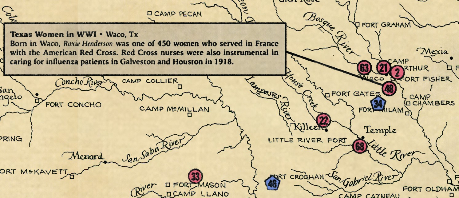 the map features over 70 people and places in texas that were significant to our state during world war i battleship texas which at the time of the war