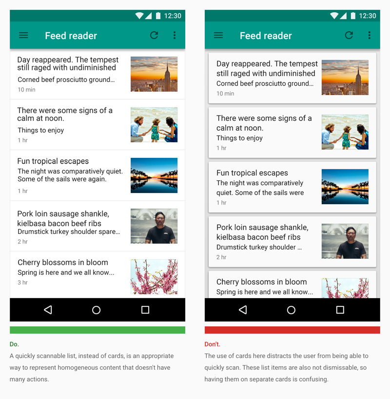 card advice from google material design team