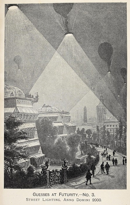 "While Poe imagined hot air balloons travelling to the moon, others predicted more mundane uses such as floating street lights from the year 2000. ""Guesses at Futurity"" Fred Jane, Pall Mall magazine, 1894."