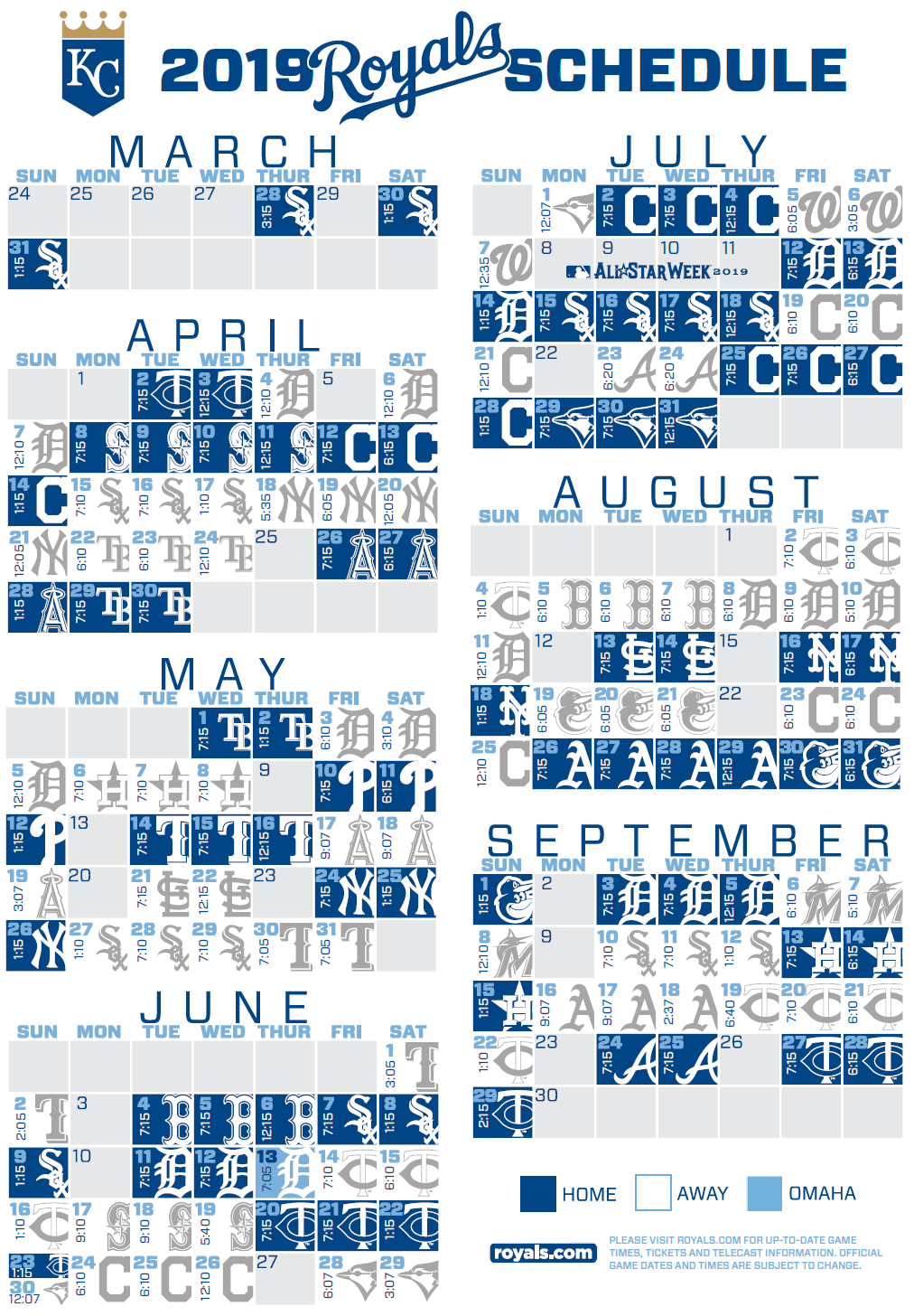 Playful image regarding royals schedule printable