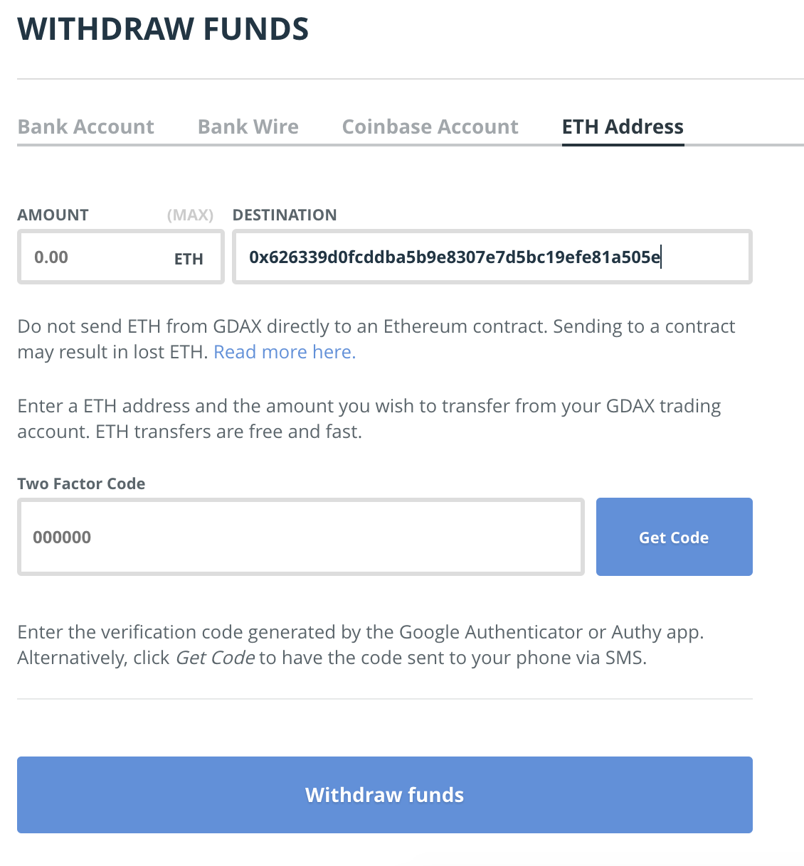 Now that I have transferred my USD to GDAX.com I am ready to buy Bitcoin,  Ethereum, or Litecoin directly from GDAX with a fee of only 0.25%! Here is  a list ...